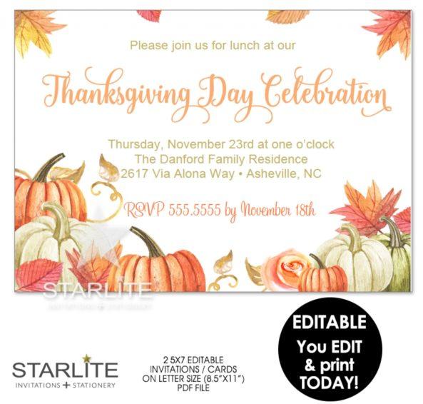 Thanksgiving Invitations Free Dinner Templatethanksgiving