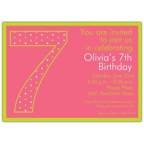 Invitation Template  7th Birthday Invitation Wording