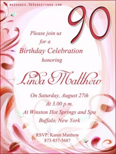 Th Birthday Invitation Wordings X Spectacular 90th Birthday