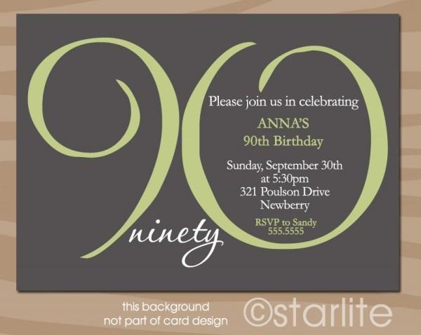 Th Birthday Invitations Unique 90th Birthday Invitation Ideas