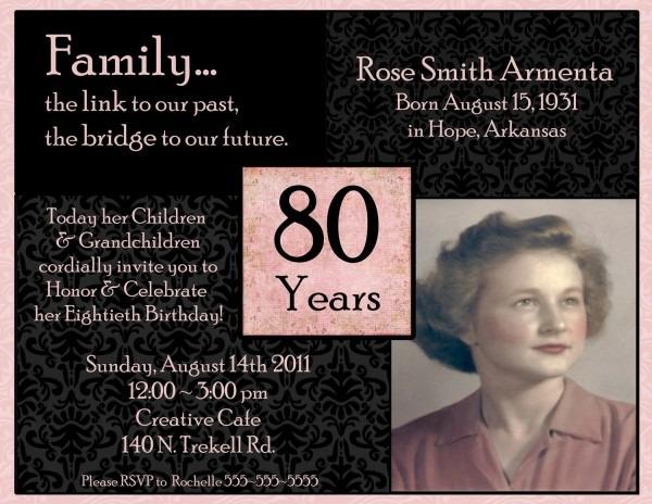 Th Birthday Invitations Unique Birthday Invitations For 80 Year
