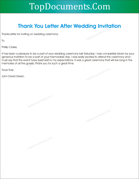 Thank You Letter For Wedding Invitation – Top Docx
