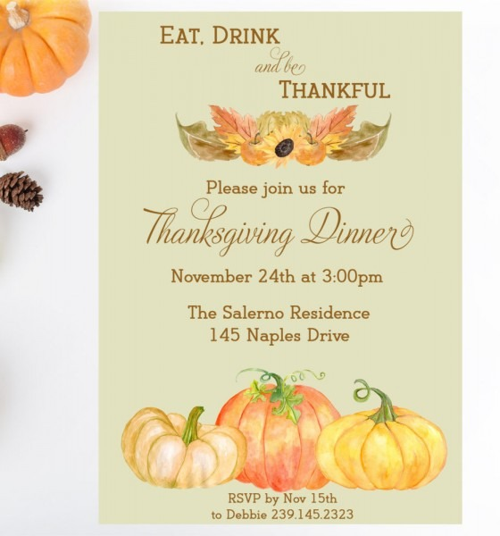 Thanksgiving Dinner Printable Invitation, Fall Party