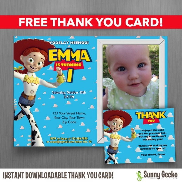 Toy Story Jessie 7x5 Or 6x4 In  Birthday Party Invitation With