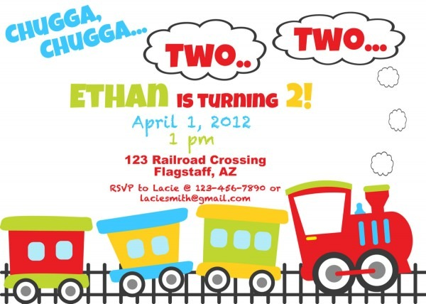 Chugga Chugga Choo Good Train Birthday Invitation