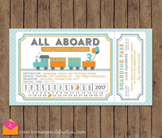 Train Ticket Invitation All Unique Train Ticket Birthday