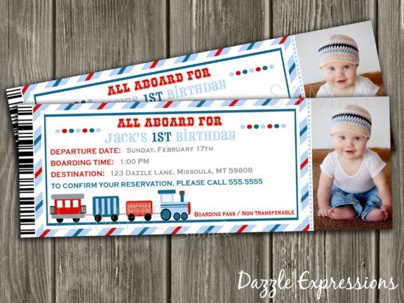 Train Ticket Invitation Than New Train Ticket Birthday Invitations