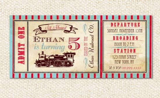 Train Ticket Invitations Beautiful Train Ticket Invitations