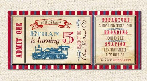 Train Ticket Invitations Train Perfect Train Ticket Birthday