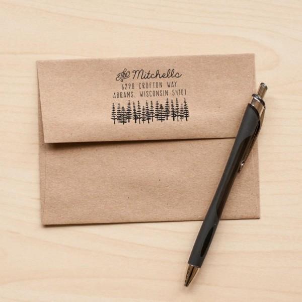 Tree Address Stamp, Return Address Rubber Stamp, Stationery Stamp