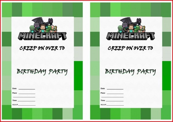 Trend Minecraft Birthday Invitations 83 For Your Free Printable