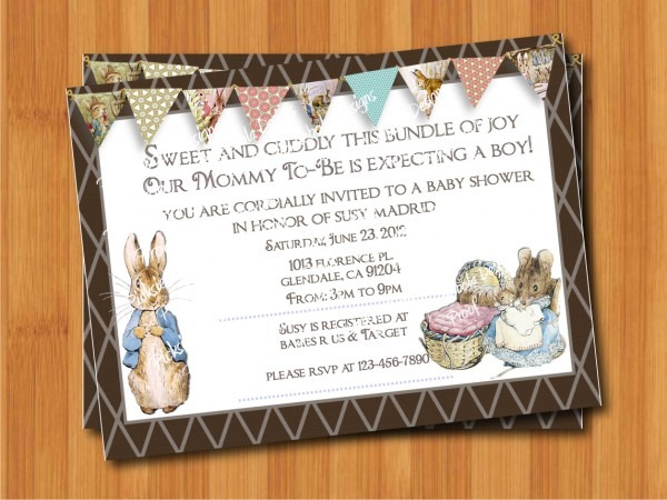 Trend Peter Rabbit Baby Shower Invitations 31 With Additional Free