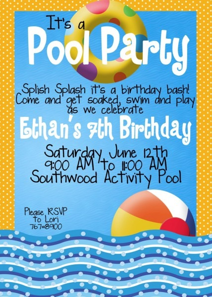 Trend Pool Party Invitation Wording 19 For Your Invitations