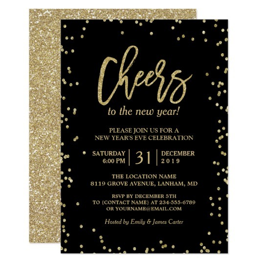 Trendy Gold Glitter Cheers Trend New Years Party Invitations