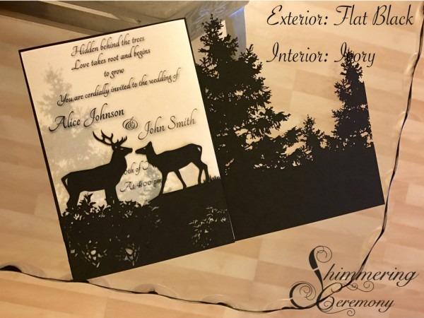 Shimmering Ceremony — Forest Laser Cut Wedding Invitation Elk