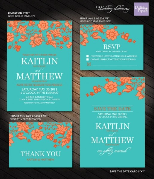 Turquoise And Orange, Flower Wedding Printables, Customized