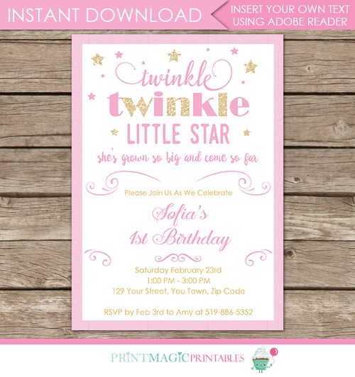 Twinkle Twinkle Little Star 1st Birthday Invitations Cool With