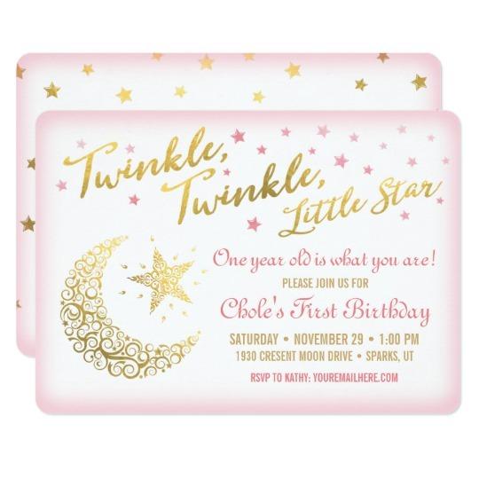 Twinkle Twinkle Little Star Birthday Invitations Fancy With