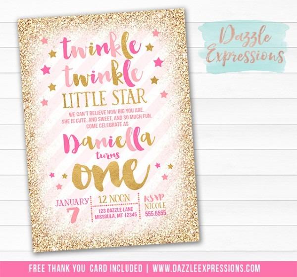 Twinkle Twinkle Little Star Birthday Invitations Cute With Twinkle
