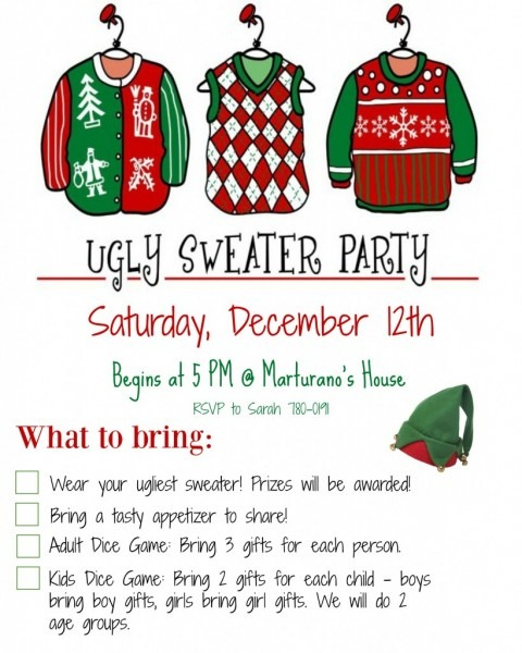 Ugly Christmas Sweater Invitation Wording – Happy Holidays!