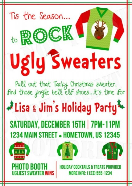 Invitation  Tacky Christmas Sweater Party Invitation Wording