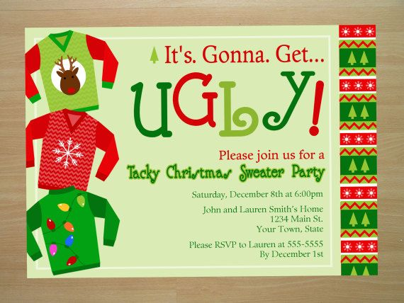 Invitation Ideas  Ugly Sweater Party Invite Template
