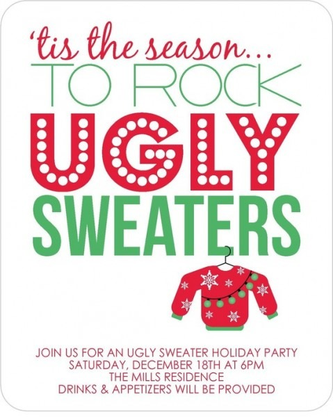 Simple Ugly Sweater Party Invite Template