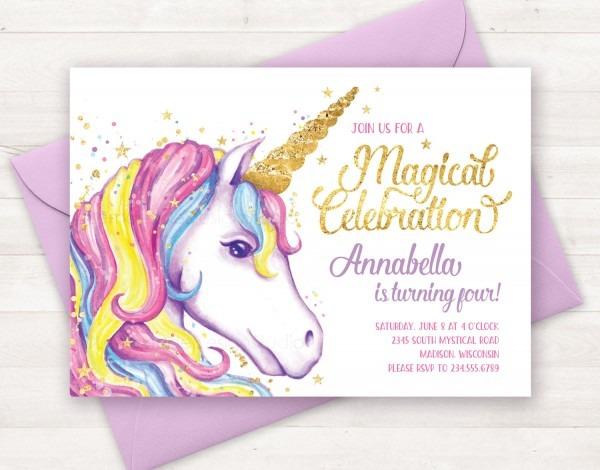 Unicorn Birthday Invitations Unicorn Birthday Invitations