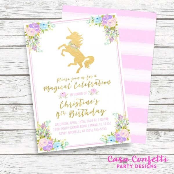Unicorn Invitation Unicorn Beautiful Girl Birthday Invitations