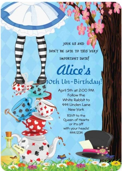 Invitations C Great Alice In Wonderland Party Invitations