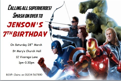 Unique Avengers Birthday Simple Avengers Party Invitations