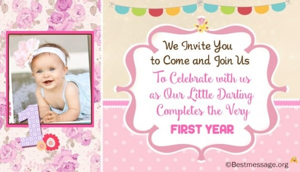 Example Popular 1st Birthday Invitation Message