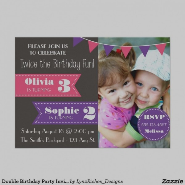 Wonderful Of Joint Birthday Party Invitations Double Invitation
