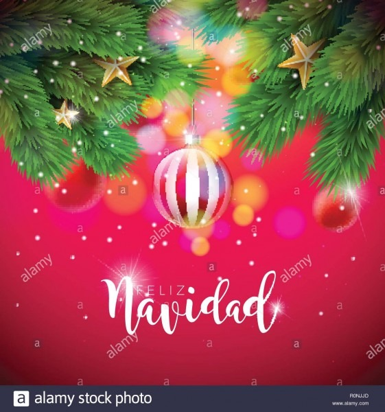 Vector Christmas Illustration With Spanish Feliz Navidad