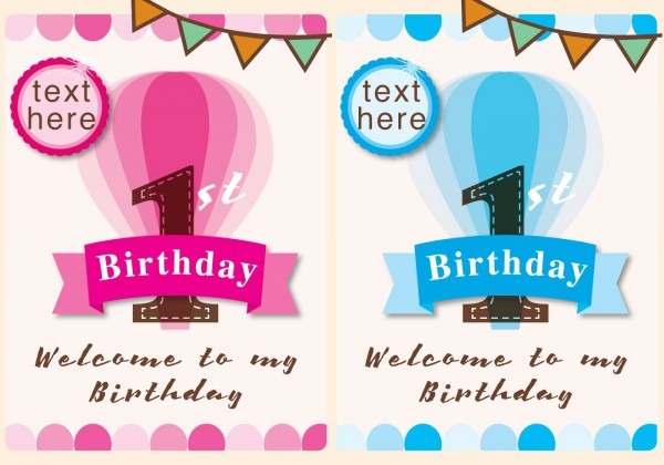 Editable 1st Birthday Invitation Card Free Download