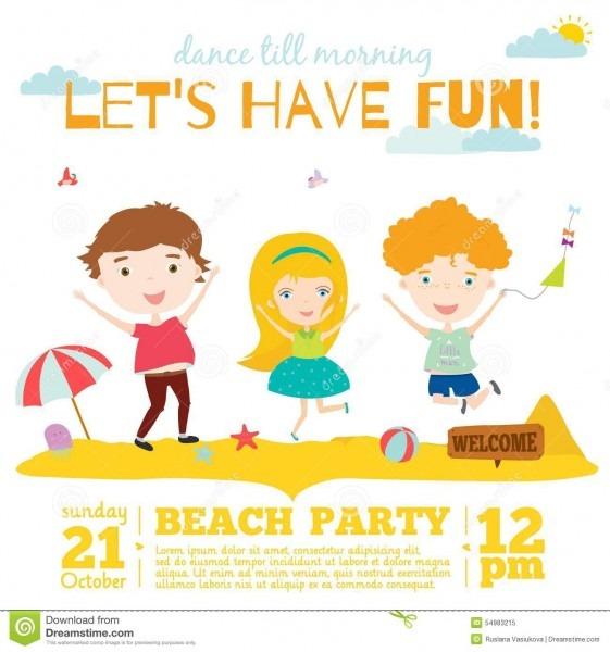 Vector Invitation Card On Summer Beach Party With Stock Vector