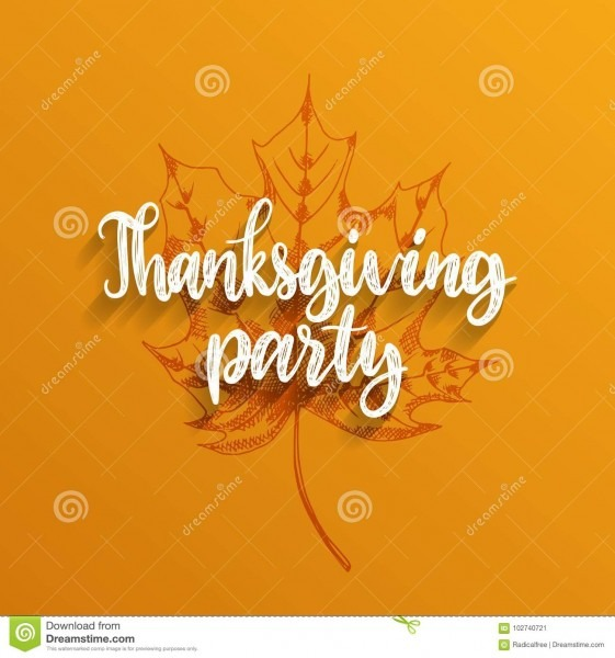 Vector Thanksgiving Party Hand Lettering Maple Leaf Illustration