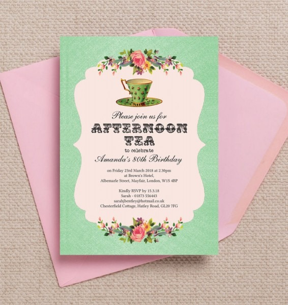 Vintage Afternoon Tea Party Pink Green Personalised Milestone