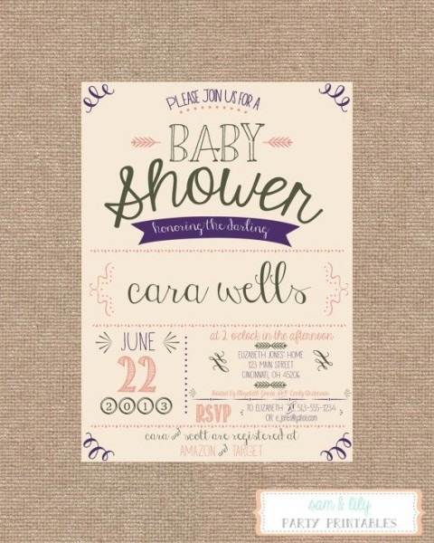Vintage Style Baby Girl Shower Invitations