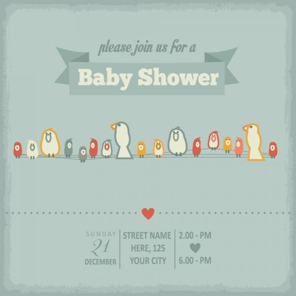 Vintage Baby Shower Invitation Cards Vector 04 Free Download