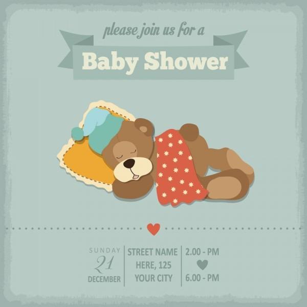 Vintage Baby Shower Invitation Cards Vector 06 Free Download