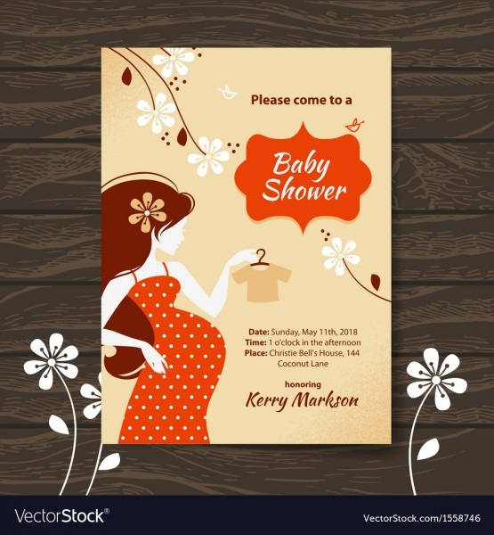 Vintage Baby Shower Invitation Royalty Free Vector Image