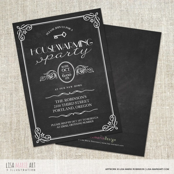 New Vintage Chalkboard Housewarming Party Invitations {print On