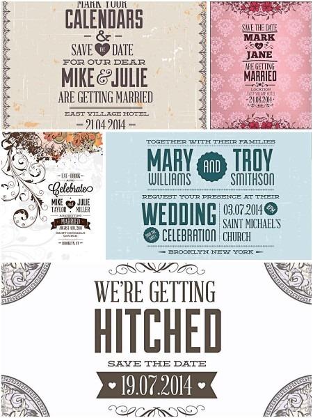 Vintage Invitations For Wedding Set Vector