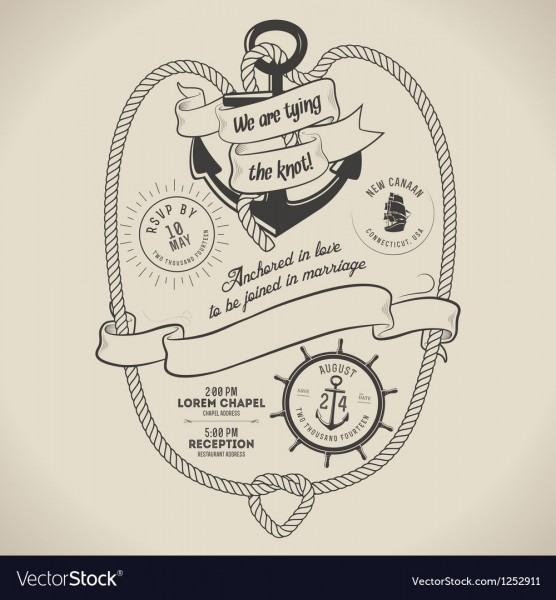 Vintage Nautical Themed Wedding Invitation Vector Image