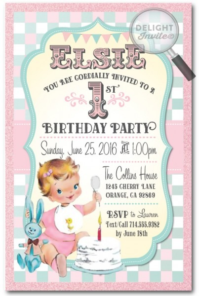 Vintage St Birthday Baby Invitation Fresh E Invite For First