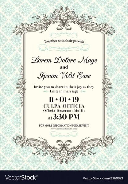 Vintage Wedding Invitation Border And Frame Vector Image
