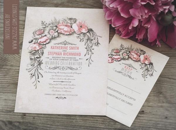 Vintage Wedding Invitation With Floral Wreath – Need Wedding Idea