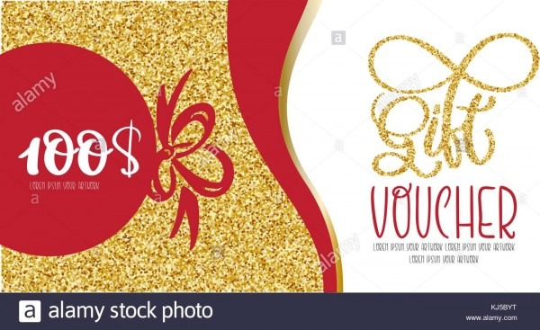 Voucher Template With Gold Gift Box Certificate  Background Design