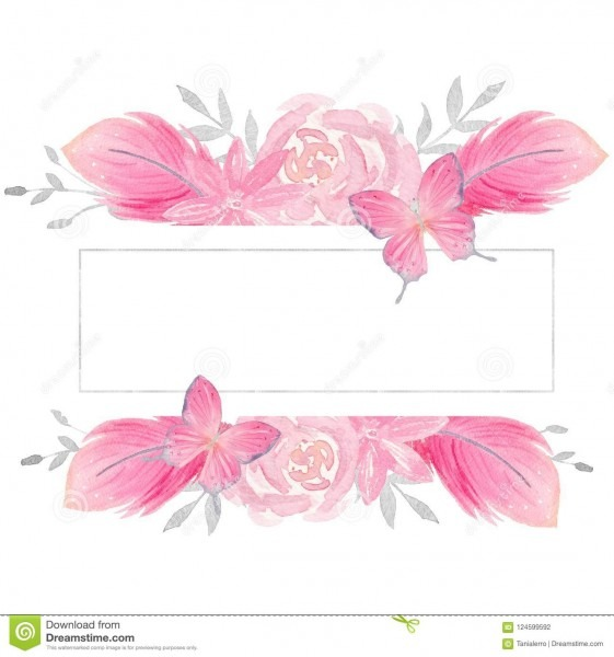Watercolor Pink Floral Illustration  Pre